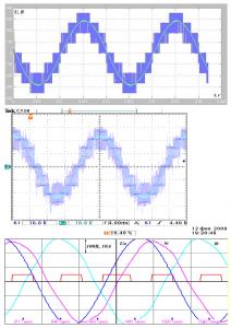 Осциллограмма напряжений и токов при 50Гц